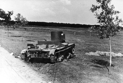 Destroyed Soviet flamethrower tank