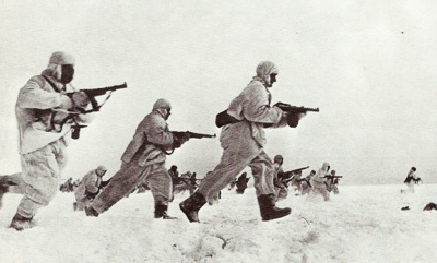 Soviet troops counter attack during the Battle of Moscow